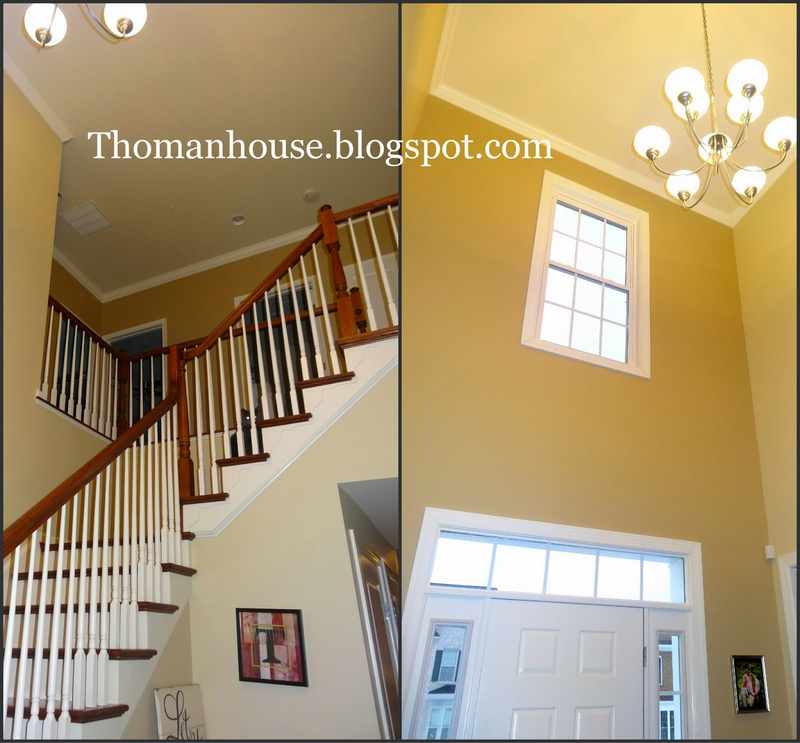 Lenox tan benjamin moore reviews - L Lenox Tan On The Upstairs Walls And Carrington Beige On The Left Wall And Lower Walls R Leno Tan Above The Front Door And Carrington Beige On The