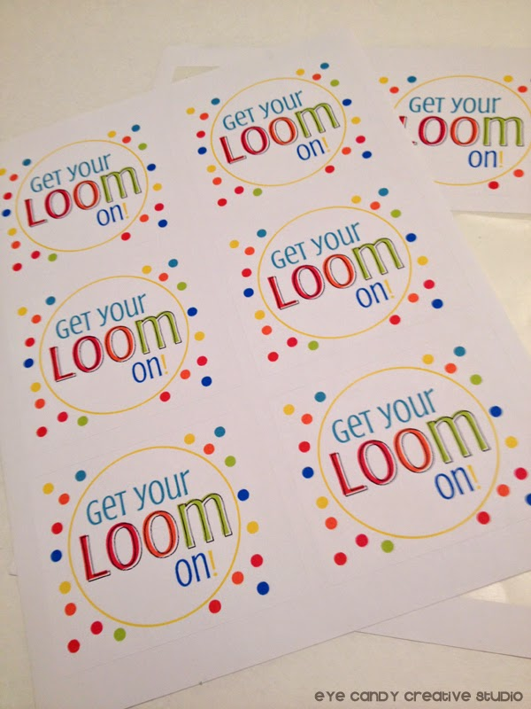 get your loom on labels, online labels, rainbow loom party labels