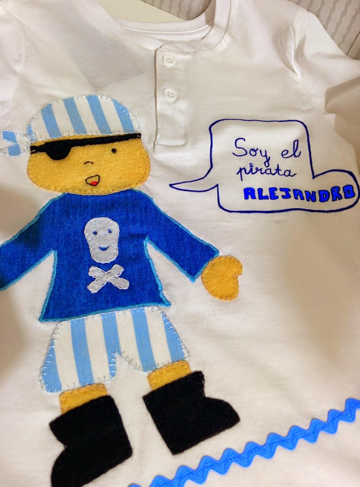 detalle camiseta pirata patchwork