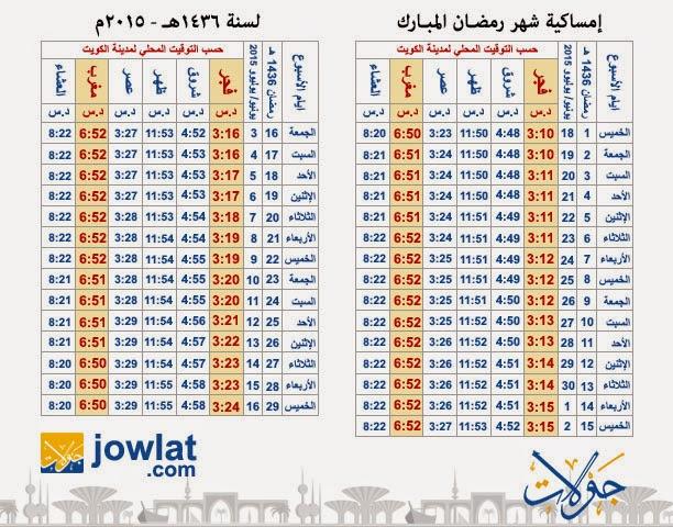 الكويت امساكية رمضان 2015