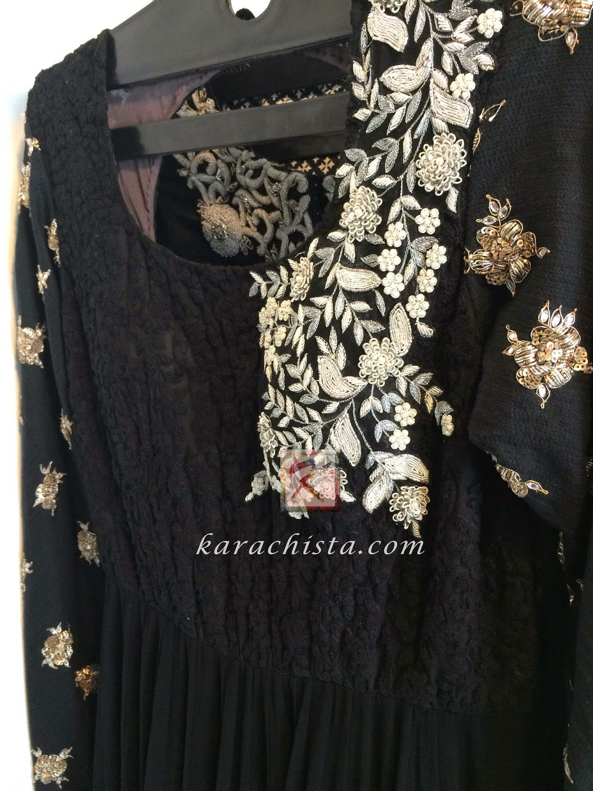 Lace & georgette embroidered black anarkali