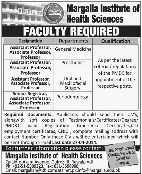 Required Professors in Margalla Institute of Health Sciences, Rawalpindi