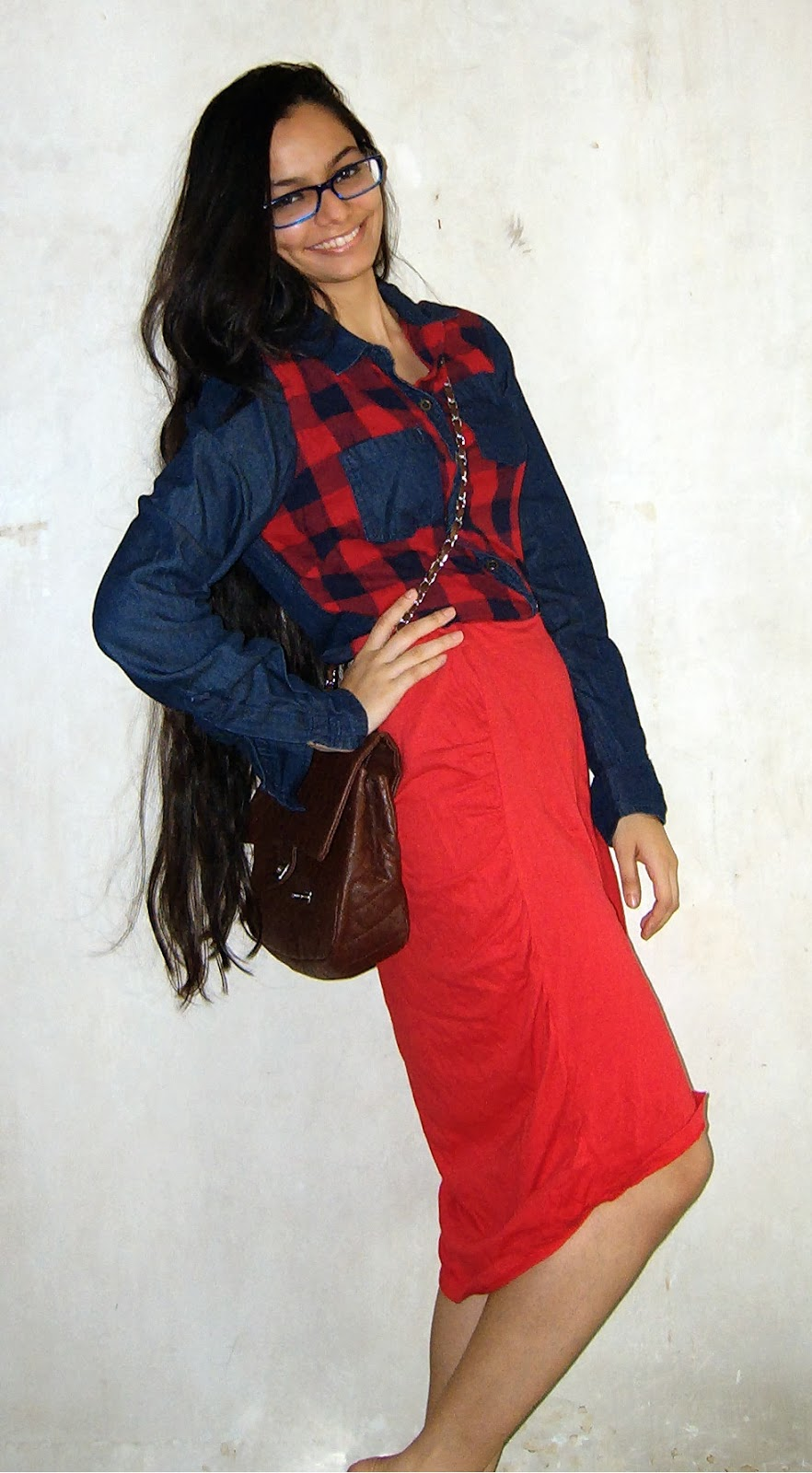 cross body bag, red skirt, denim and tartan shirt, plaid shirt, mumbai streetstyle