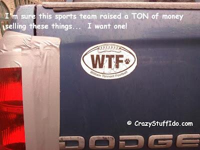 Best car magnet ever! WTF Car Magnet for a school sports team