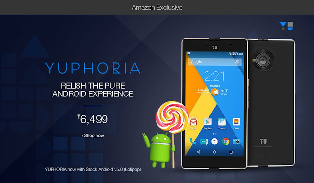 YU Yuphoria Pure Android for ₹6,499 on Amazon India