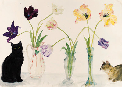 Elizabeth Blackadder -  Black Cat, Abyssinian Cat and Tulips