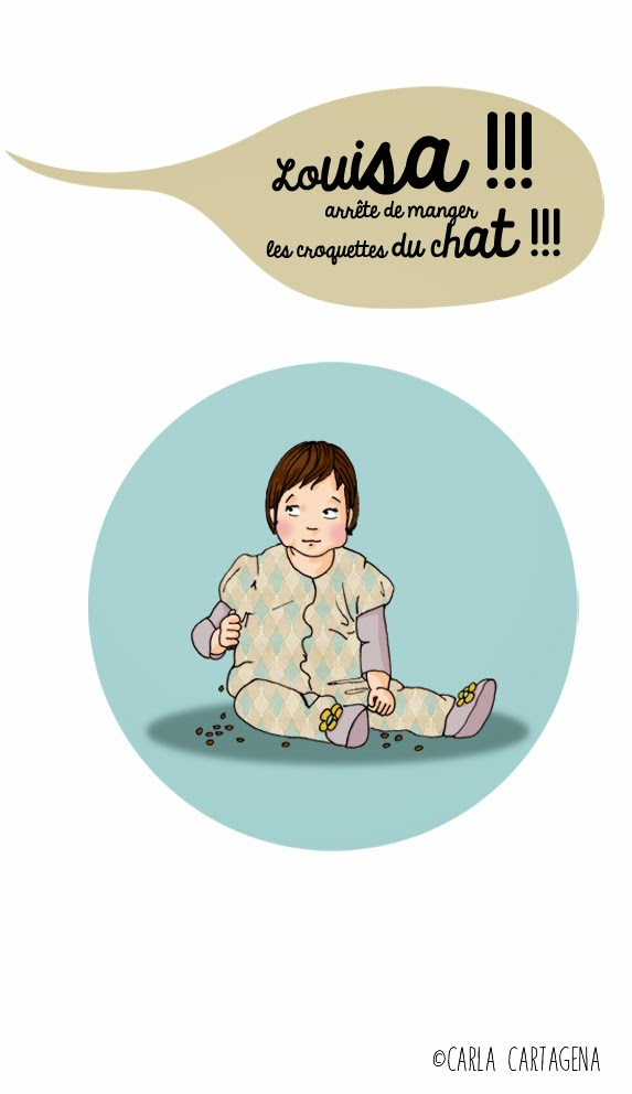 Louisa !!! arrête de manger les croquettes du chat !!! enfant-bébé-bétise
