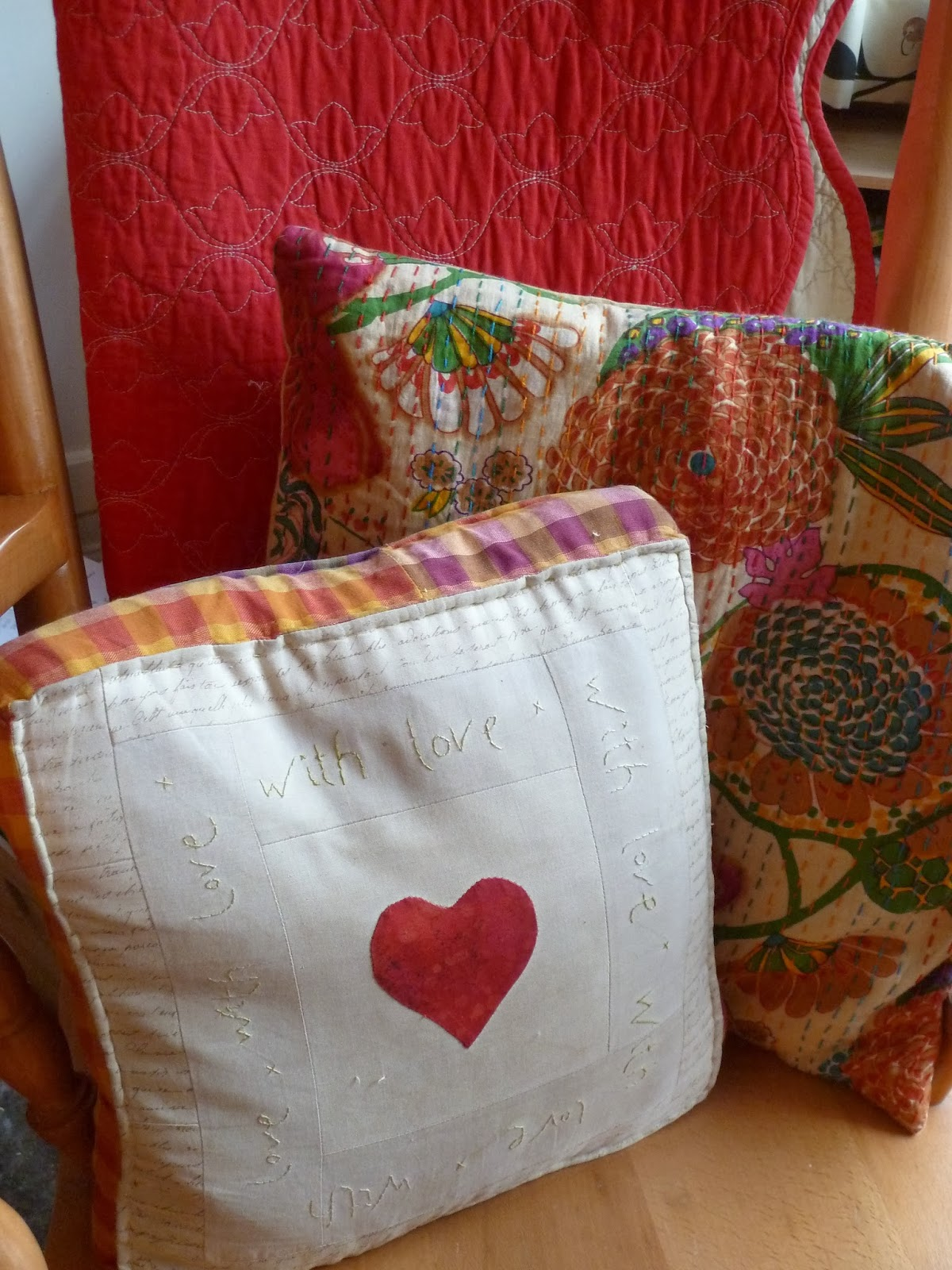 Cushions on rocking chair