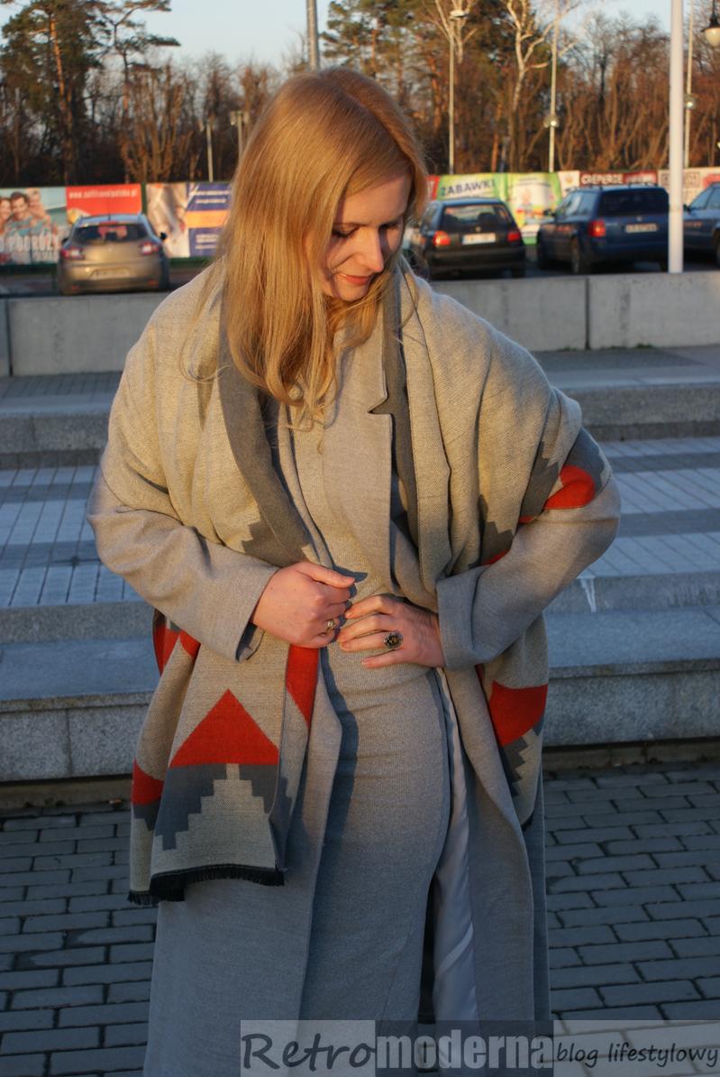 szary płaszcz shein