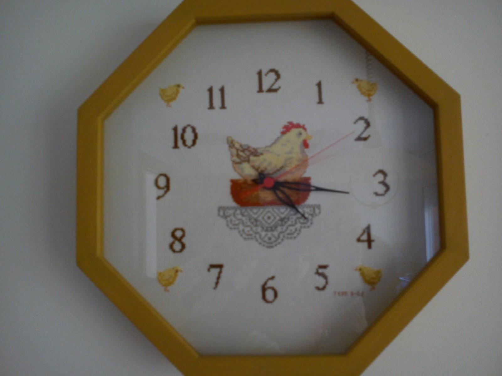 Punto de cruz patchwork leo reloj cocina campestre - Relojes para cocinas modernas ...