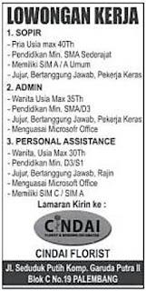 Lowongan Kerja CINDAI FLORIST Palembang