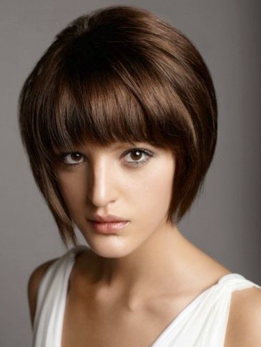 Stacked Bob Haircut with Straight Bangs