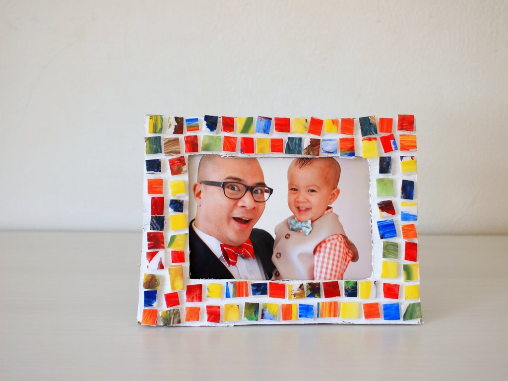 Painted Mosaic Styrofoam Tile Picture Frame | Pink Stripey Socks