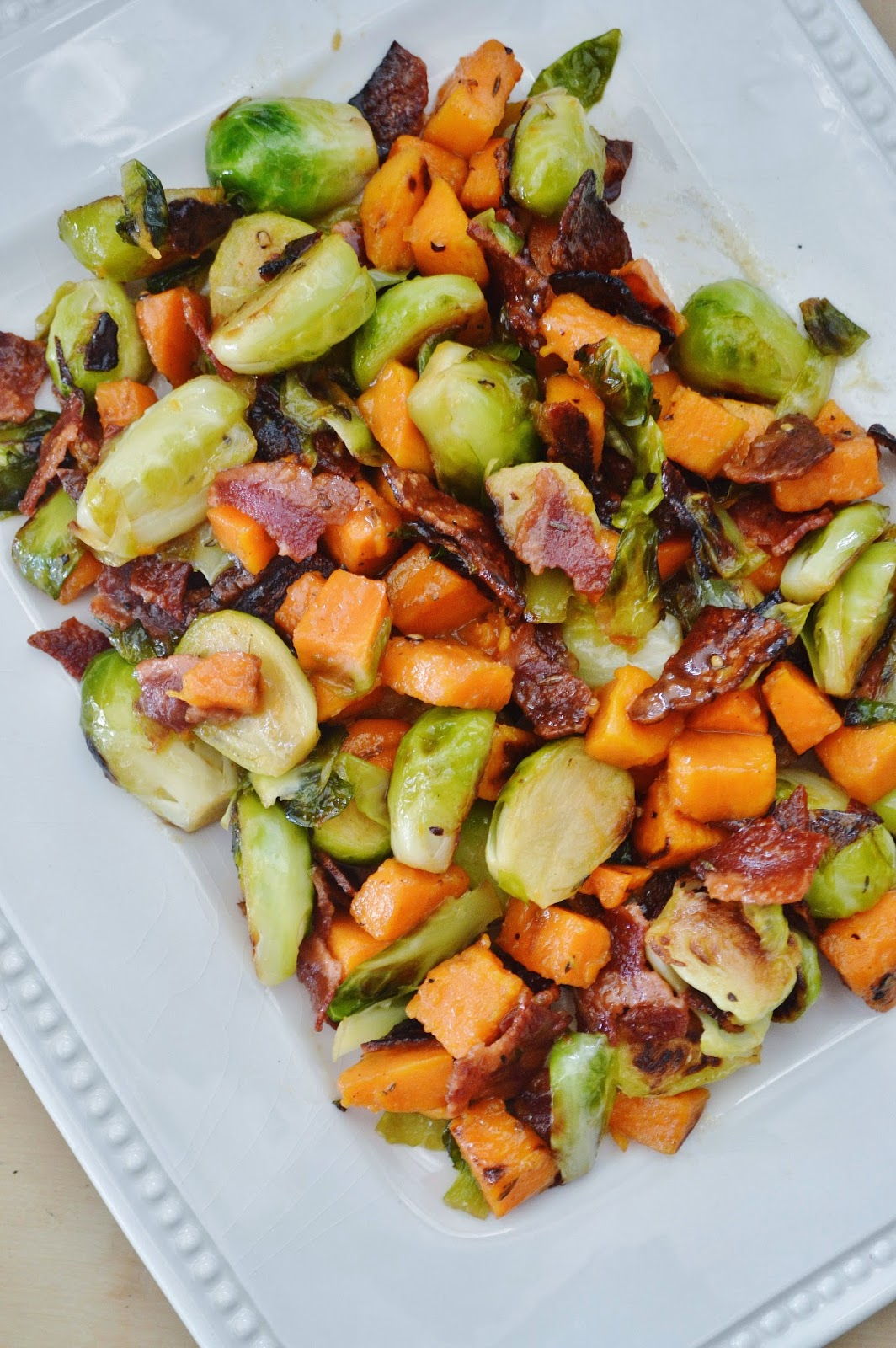 ... : Roasted Sweet Potato and Brussel Sprouts with Shallot Vinaigrette