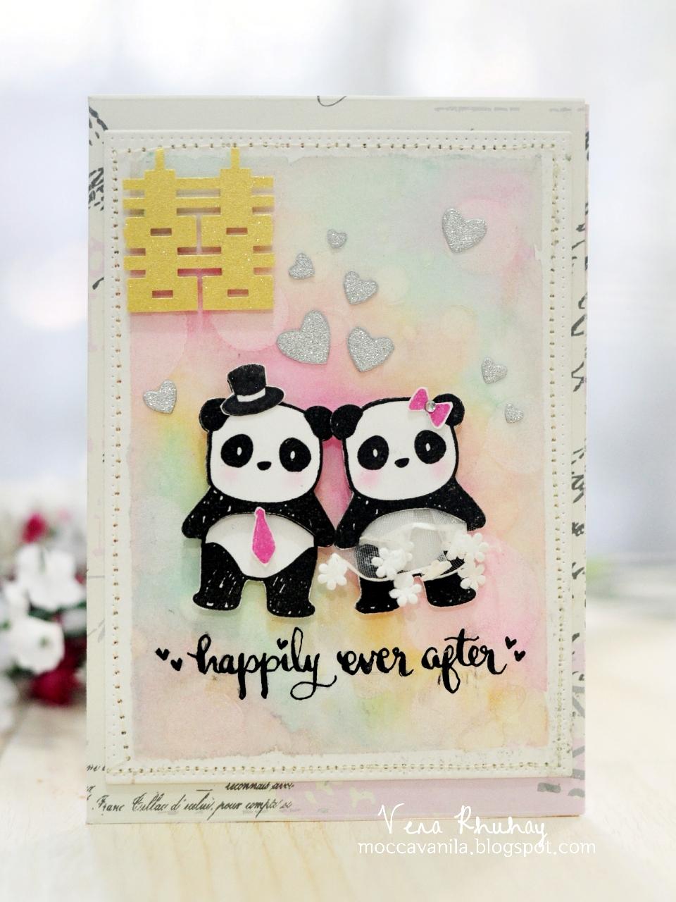 moccavanila by vera rhuhay 2in1 panda wedding card