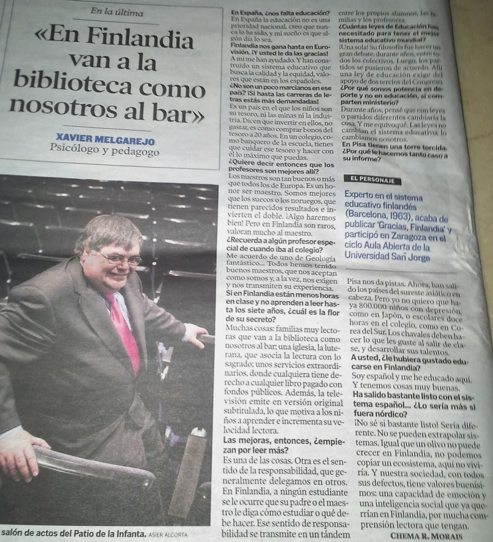 """""""En Finlandia van a la Biblioteca como nosotros al bar"""""""
