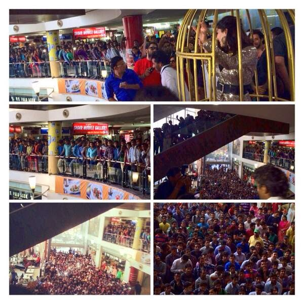 Sunny Leone in a cage to perform on Baby Doll song of Ragini MMS 2 for promotion at Crystal Palm, Jaipur; lead actress surrounded by a massive crowd!