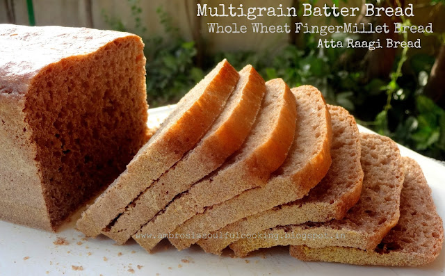 atta raagi bread | whole wheat finger millet batter bread | multigrain batter bread  | vegan bread