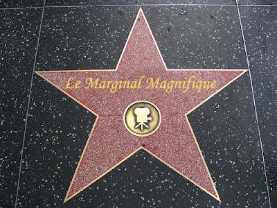 """Cette image représente une étoile du Walk of Fame, qui se trouve sur Hollywood Boulevard entre Gower Street et la Brea Avenue et sur Vine Street entre Yucca Street et Sunset Boulevard.  Chaque star se voit dédier une dalle carrée d'environ 80 cm de côté insérée dans le trottoir. Fabriquée dans un matériau à base de ciment imitant le marbre, chaque dalle présente, sur fond anthracite, une étoile rose à cinq branches au contour en laiton gravée du nom de la célébrité. Sous cette inscription, un emblème, lui aussi en laiton rappelle la catégorie dans laquelle la star s'est distinguée. ici l'emblème est celui consacré au cinéma. En lieu et place du nom de star on peut lire """"Le Marginal Magnifique"""". Cette photographie détournée par le celebre poete """"Le Marginal Magnifique"""" illustre le poème intitulé """"Star"""" dans lequel le grand poèye affirme successivement qu'il ne sera un enfant star du cinema comme Macaulay culkin, ni une pop star comme Britney Spears, ni une rock star comme Anthony Kiedis chanteur et leader du groupe de rock """"Red Hot Chili Peppers"""", ni, pour finir, une star du X, une porn star, comme Christopher Clark, célèbre hardeur à la carrière internationale. A chaque fois, Le Marginal Magnifique donne une bonne raison pour laquelle il ne peut pas être une star dans le domaine cité, avant de conclure qu'être une star lui est comlpètement égal du moment qu'il fait sa vie tranquille dans son coin. Ce poème est donc un énorme pied de nez au show bizness dans la continuité de l'image détournée de main de maître par Le Marginal Magnifique qui n'oublie de traiter toutes ces stars de guignols, montrant de ce fait qu'il n'est nullement impressionné."""
