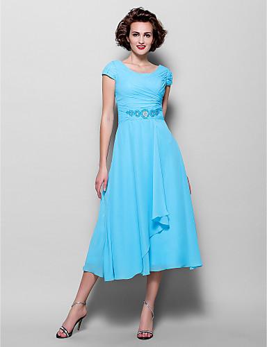 Vestido Madrina Azul Gasa