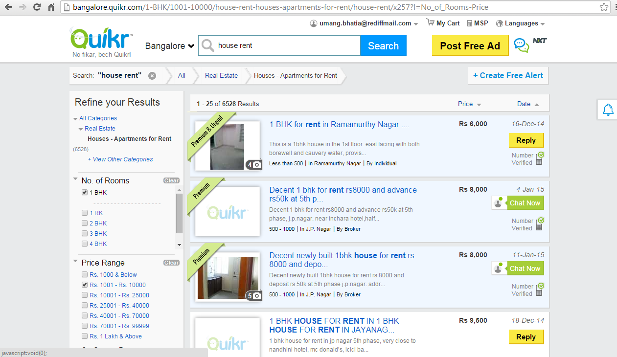 It's just Quikr in Bangalore!