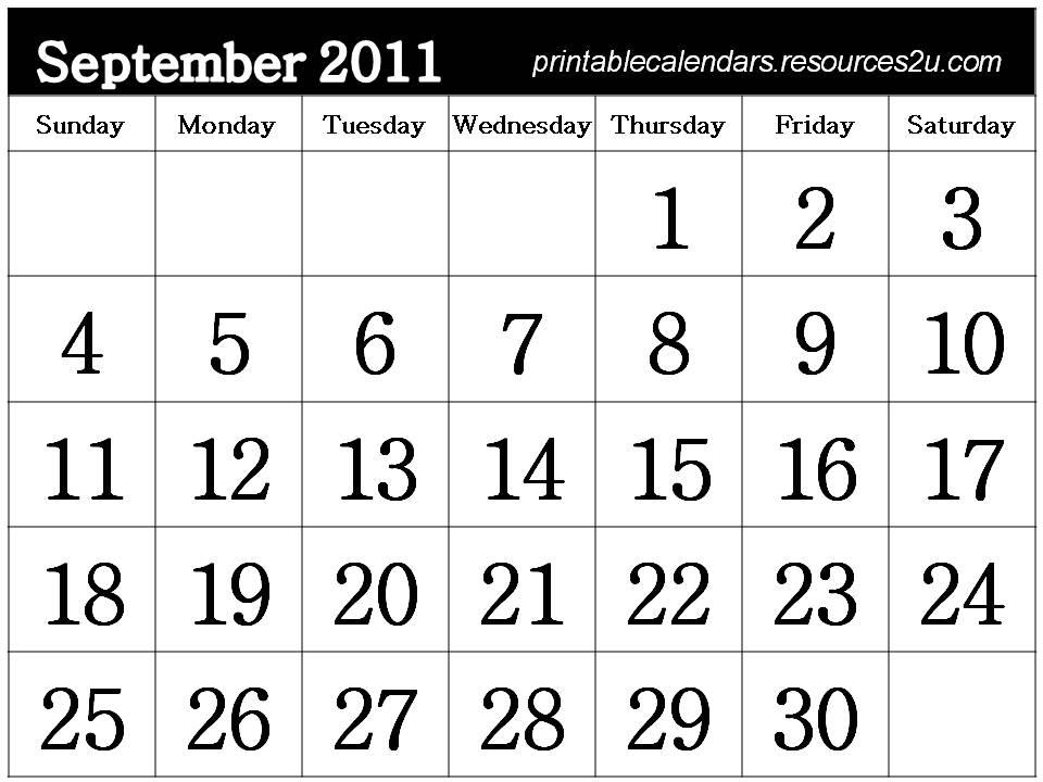 september 2011 calendar with holidays. Free Printable September 2011