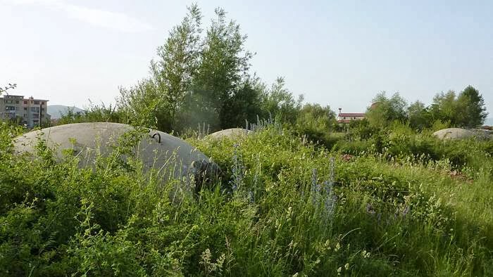 Bunkers in the field of Albania