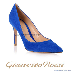 Crown Princess Mary Style Gianvito Rossi Blue suede pump