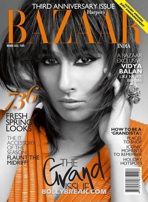 Vidya Balan sleek hair -  Vidya Balan Harper's Bazaar March 2012