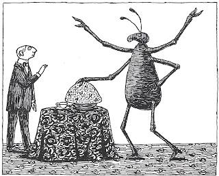 Wittgenstein fühlt sich von dem großen Käfer ein bisschen eingeschüchtert (Metapher für verdrängte Homosexualität?).