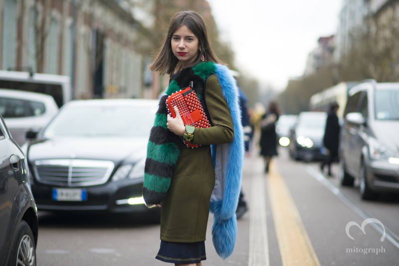 Natasha Goldenberg at Fendi show during Milan Fashion Week MFW