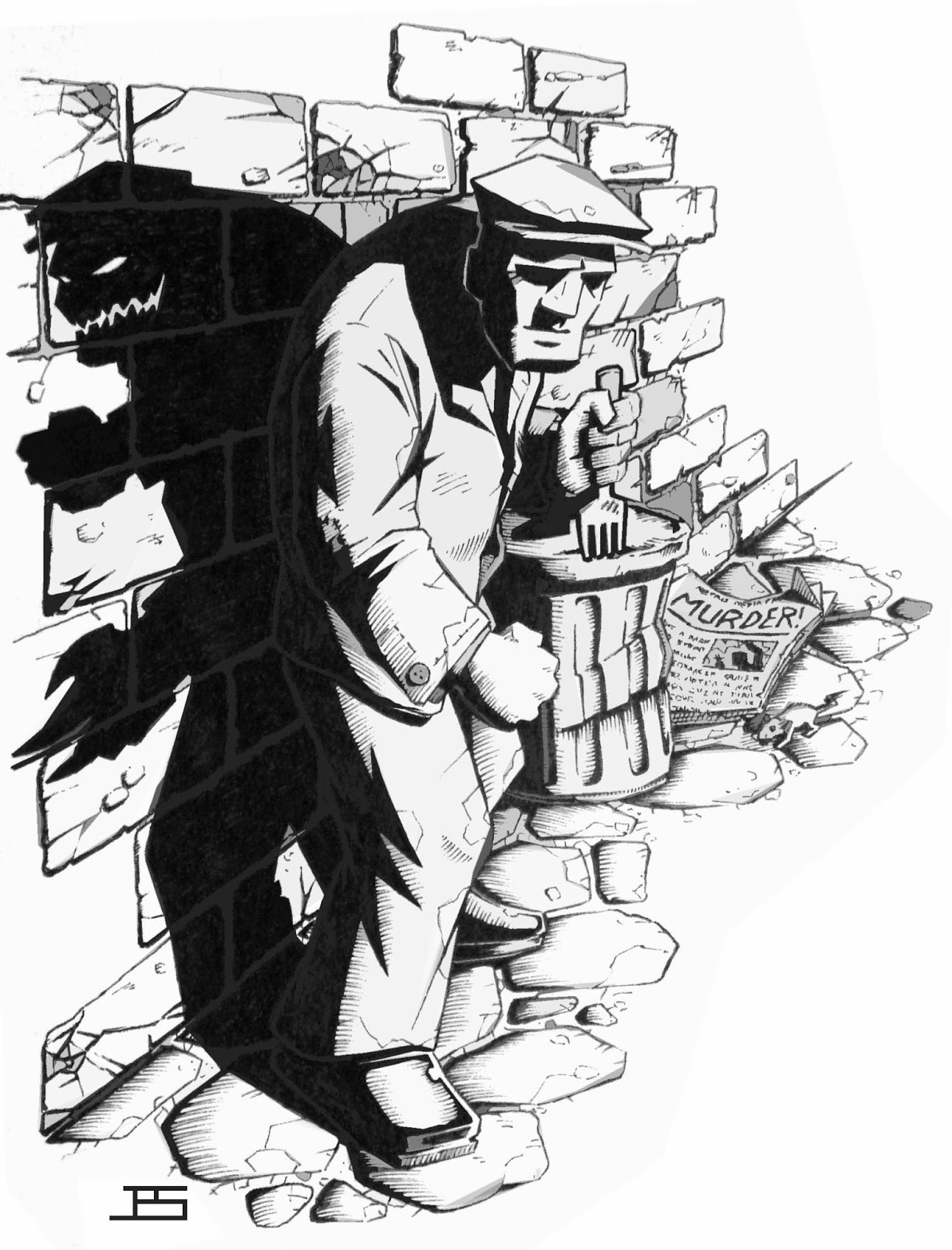 An RPG styled illustration of a pulp noir character.