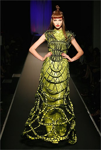 Green deconstructed dress by Jean Paul Gaultier. Photo by Patrice Sable.