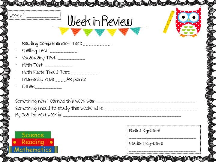 Fancy Free in 4th: Weekly Progress Report Folders for Parents