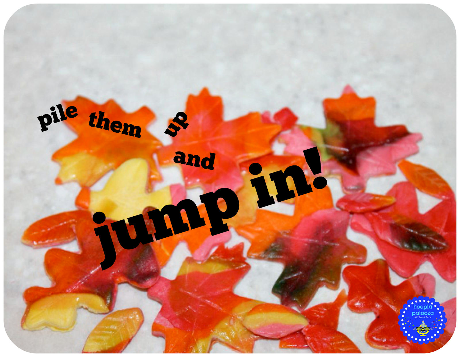 Super fun candy Autumn leaves recipe from Hoopla Palooza