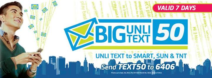 offer 7 days unlimited text on 3 networks with BIG UNLITEXT 50 promo