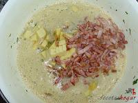 Tortilla española con queso y baicon-huevo con queso y baicon
