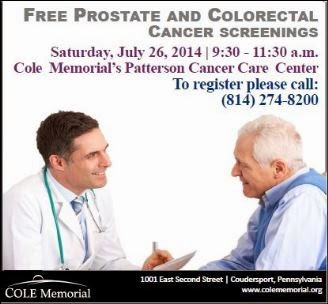 7-26 Free Prostate & Colorectal Cancer Screenings