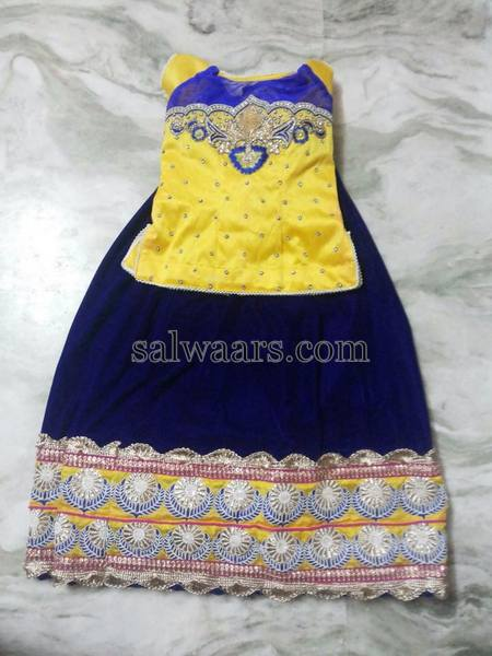 Blue Lehenga Neon Yellow Blouse