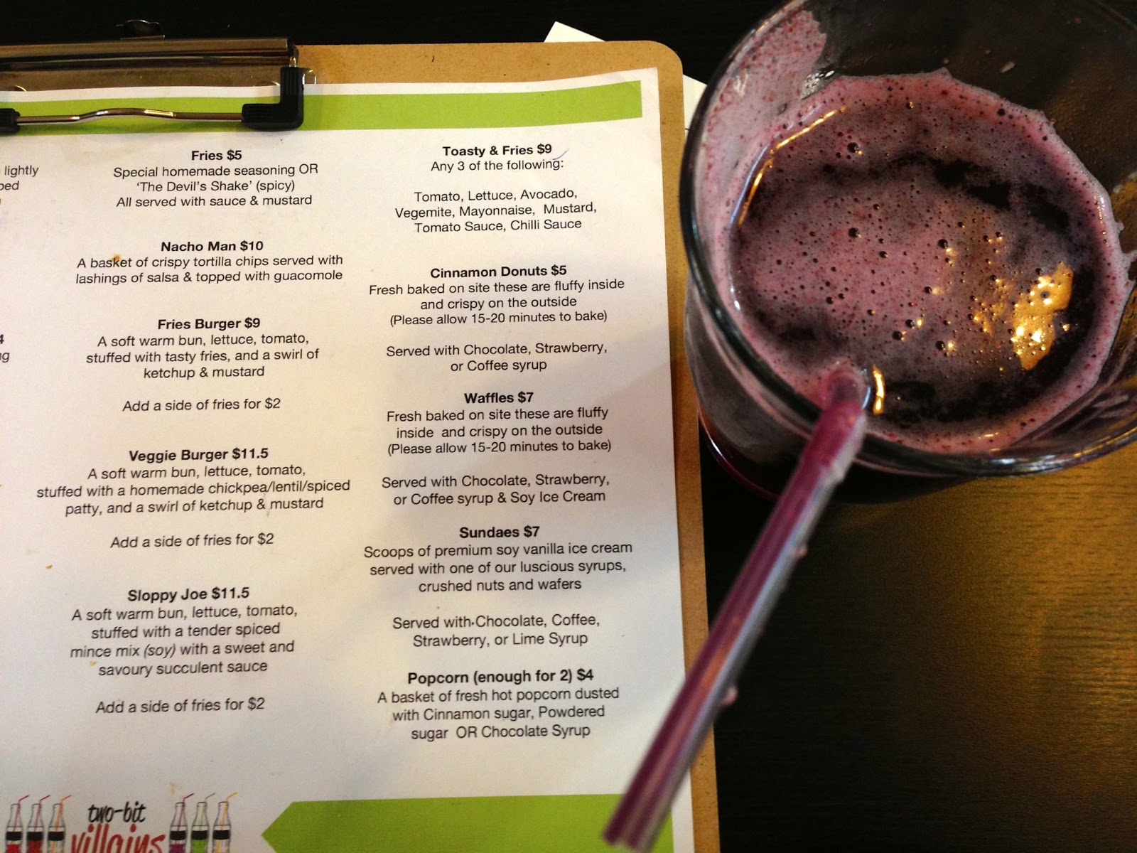Vegan menu - Two-Bit Villains, Adelaide