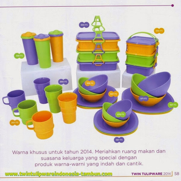 Fun Series, New Color, Blue, Green, Yellow, Katalog Tulipware 2014