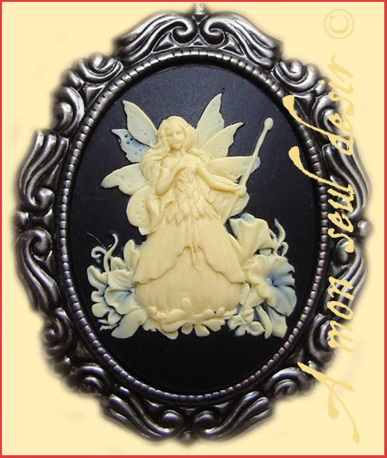 collier ras du cou féerique fée camée velours noir fairy choker necklace cameo black velvet