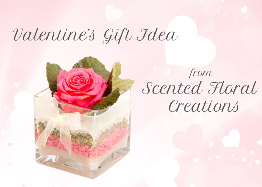 Valentines Gift Idea Scented Floral Creations Rose Review Photo Blog Review - Glass Cube With Preserved Rose