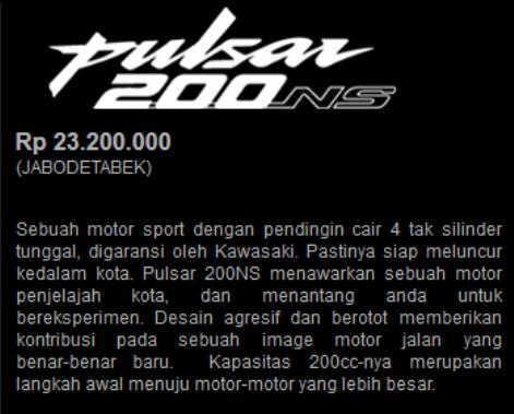 Pulsar 200NS sudah terlihat di situsnya Kawasaki Motor Indonesia dengan tagline Urban Runner