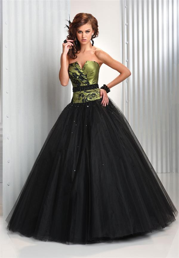 Green Mixed Black Wedding Dress Designs With Corset