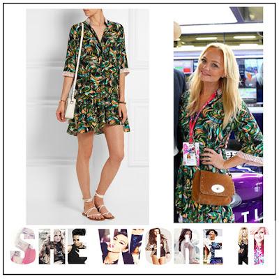 Button Up, Collar Detail, Crochet, Cuff Detail, Dress, Emma Bunton, Half Sleeve, Lace, Light Pink, Mini Dress, Multicoloured, Saloni, Silk, Swirl Print, Waist Belt,