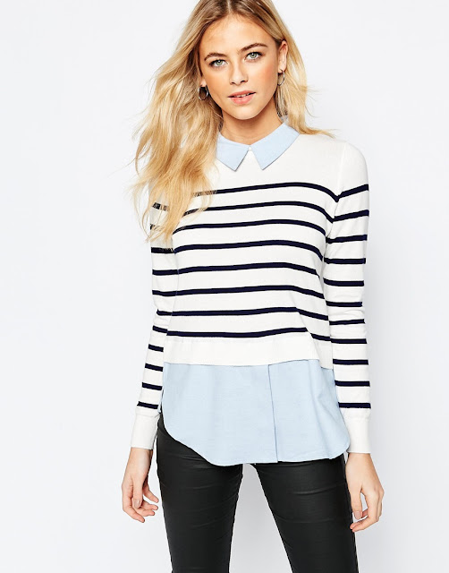 oasis stripe jumper with collar, striped jumper with shirt collar,