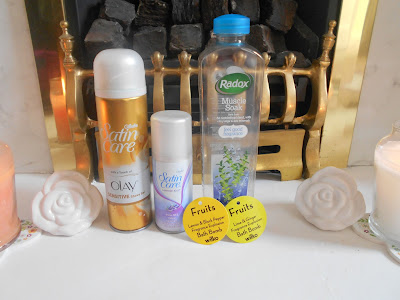 Gillette Olay Satin Care & Lavender Kiss Shaving Gel, Radox Muscle Soak and Wilkinsons Bath Bombs