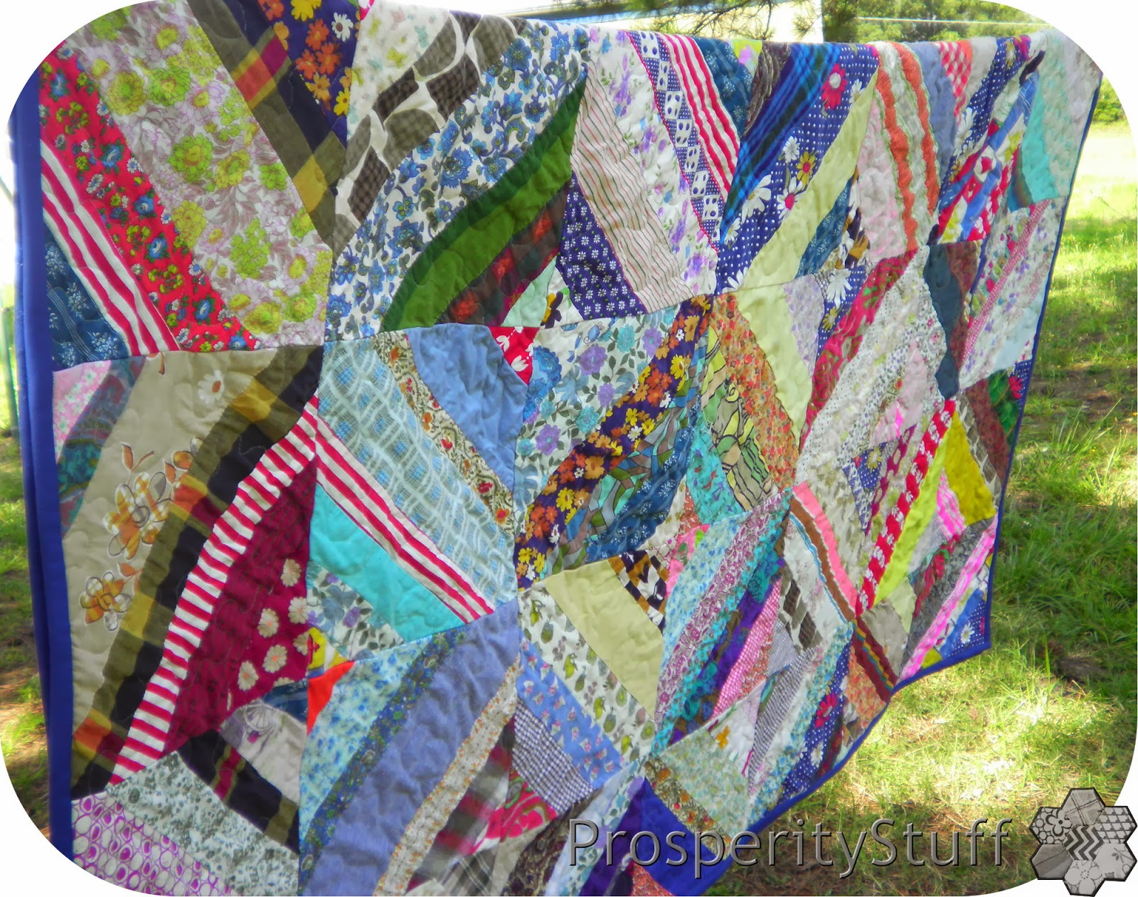 Finished Vintage Quilt - Foundation-Pieced Diamonds