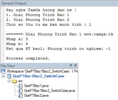 Bài 26 : Class dùng Switch Case tính giải phương trình bậc 1 và bậc 2.